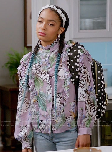 Zoey's purple ruffled tiger print blouse on Black-ish