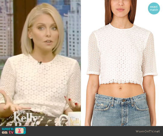 Fremont Eyelet Crop Top by  A.L.C. worn by Kelly Ripa on Live with Kelly & Ryan