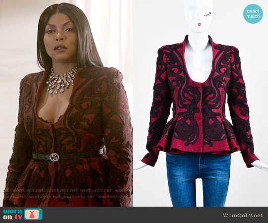 Alexander McQueen Brocade Peplum Jacket worn by Cookie Lyon (Taraji P. Henson) on Empire