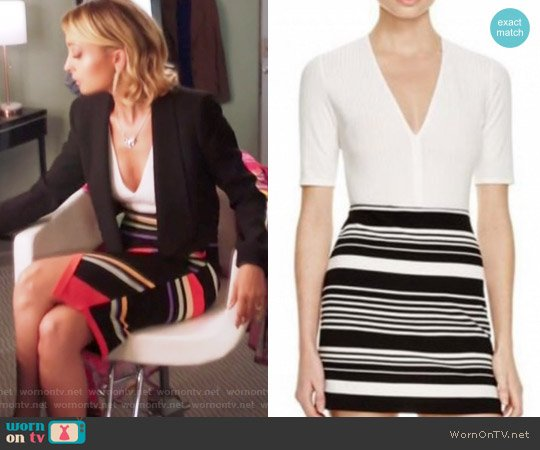 Ribbed V-neck Bodysuit by Aqua worn by Portia Scott-Griffith (Nicole Richie) on Great News