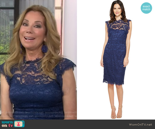Nouveau Scroll Lace Cocktail Dress by Adrianna Papell worn by Kathie Lee Gifford  on Today