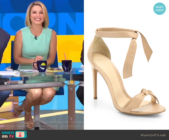 Clarita Leather Ankle-Tie Sandals by Alexandre Birman worn by Amy Robach on Good Morning America