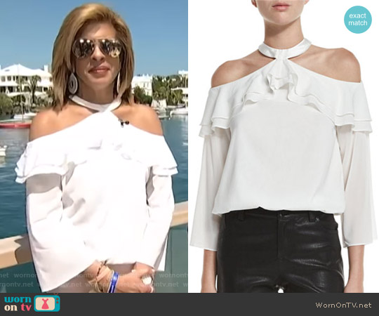 Layla Cold-Shoulder Ruffle Blouson Top by Alice + Olivia worn by Hoda Kotb on Today