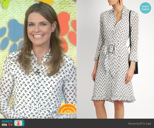 Laguna cherry-print silk dress by Altuzarra worn by Savannah Guthrie on Today