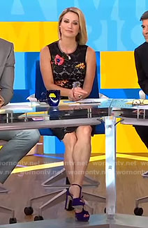 Amy's black embroidered lace dress on Good Morning America