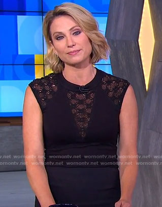 Amy's black lace trim top on Good Morning America