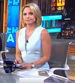 Amy's blue lace trimed neck dress on Good Morning America
