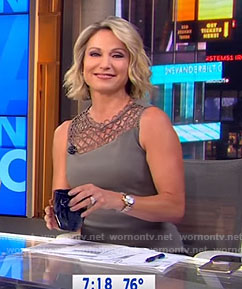 Amy's grey embroidered panel dress on Good Morning America