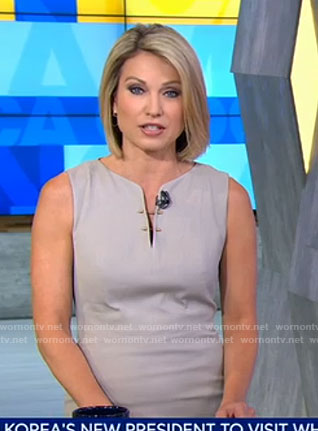 Amy's grey split neck dress with gold pins on Good Morning America