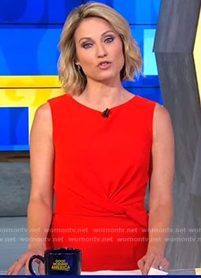 Amy's red twisted front dress on Good Morning America