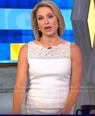 Amy's white lace trimmed dress on Good Morning America