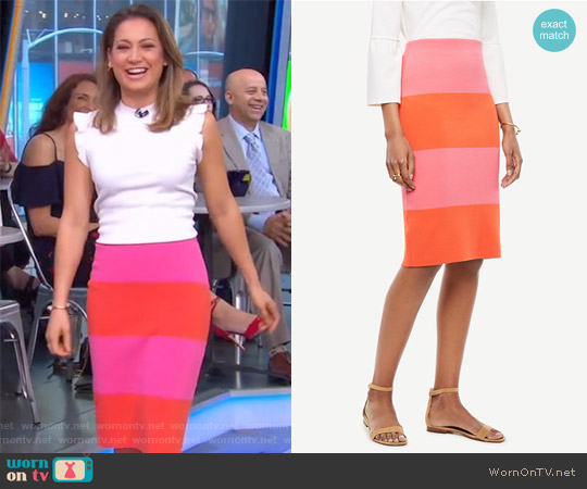 Colorblock Stripe Sweater Skirt by Ann Taylor worn by Ginger Zee on Good Morning America