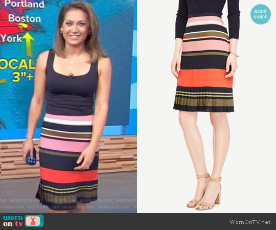Fluted Striped Skirt by Ann Taylor worn by Ginger Zee on Good Morning America