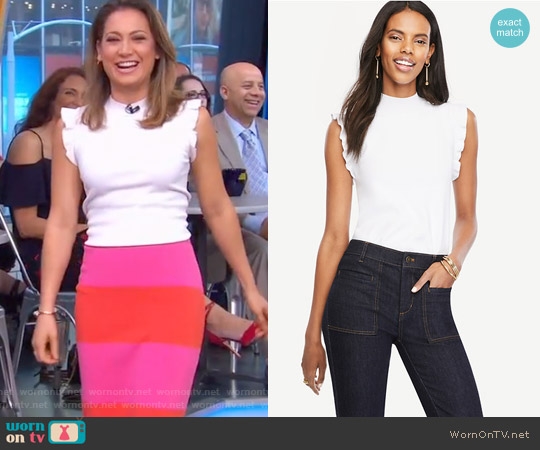 Ruffle Sleeve Mock Neck Sweater by Ann Taylor worn by Ginger Zee on Good Morning America