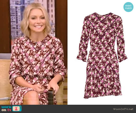 Lace-Trimmed Printed Crepe Mini Dress by Anna Sui worn by Kelly Ripa (Kelly Ripa) on Live with Kelly & Ryan
