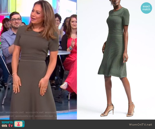 Fit and Flare Sweater Dress by Banana Republic worn by Ginger Zee on Good Morning America