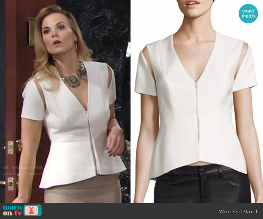 Bcbgmaxazria Cutout Peplum Top worn by Gina Tognoni on The Young & the Restless