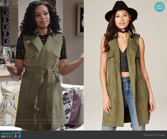 Bebe Faux Suede Trench Coat in Burnt Olive worn by Hilary Curtis (Mishael Morgan) on The Young & the Restless