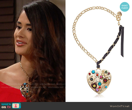 Betsey Johnson Mixed Multi-Charm Heart Pendant Necklace worn by Danube Hermosillo on The Bold & the Beautiful