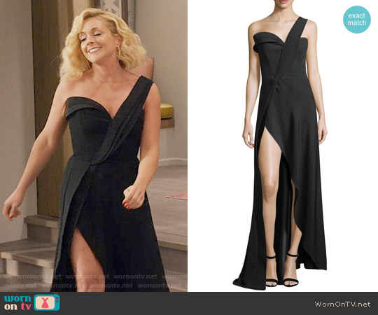 Brandon Maxwell One-Shoulder High-Slit Crepe Gown worn by Jacqueline Voorhees (Jane Krakowski) on Unbreakable Kimmy Schmidt