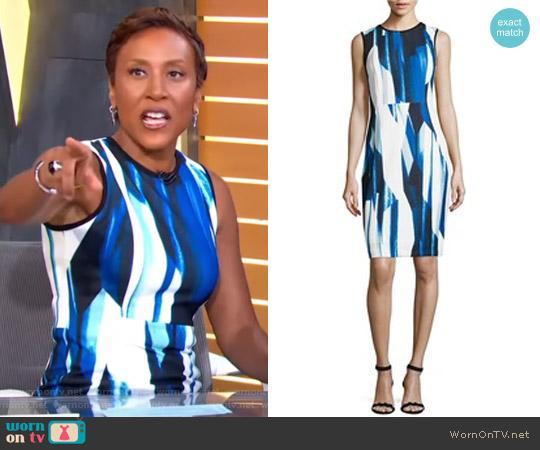 Printed Sheath Dress by Calvin Klein worn by Robin Roberts on Good Morning America