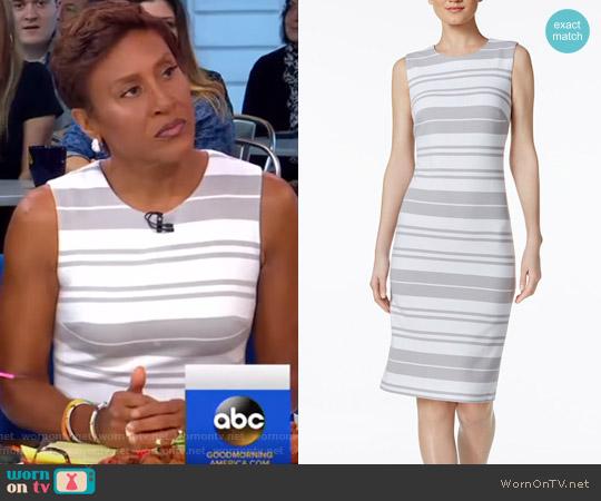 Striped Ottoman-Knit Sheath Dress by Calvin Klein worn by Robin Roberts on Good Morning America