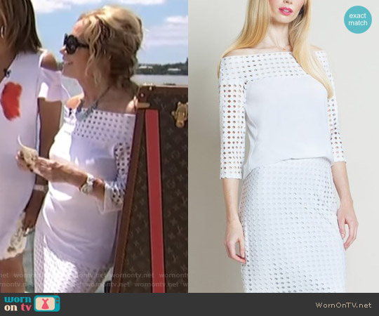 Off Shoulder Perforated Top by Clara Sunwoo worn by Kathie Lee Gifford  on Today