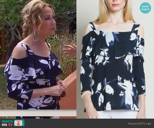 Ruffle Open Shoulder Top by Clara Sunwoo worn by Kathie Lee Gifford  on Today