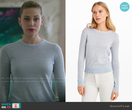 Club Monaco Kalani Tipped Sweater worn by Lili Reinhart on Riverdale