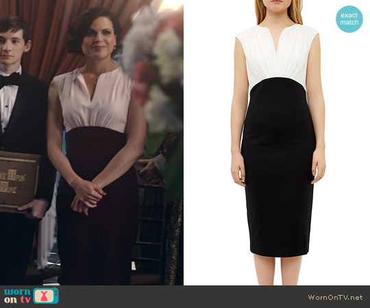 Ted Baker Color-Blocked Silk-Bodice Dress worn by Regina Mills (Lana Parrilla) on OUAT