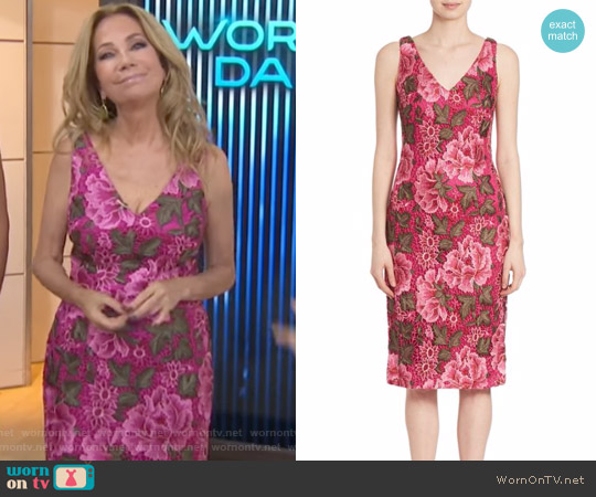 Double V-Neck Embroidered Cocktail Dress by David Meister worn by Kathie Lee Gifford  on Today