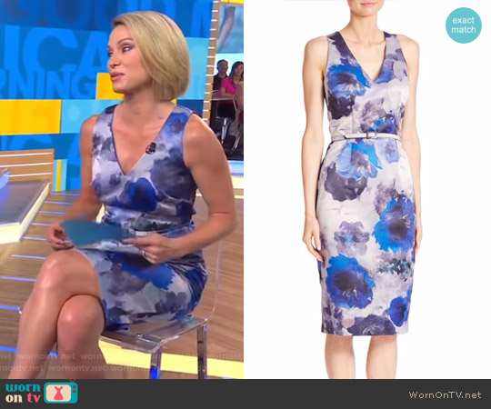 Floral Printed Sheath Dress by David Meister worn by Amy Robach  on Good Morning America