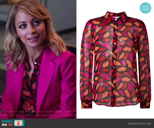 Lips Printed Shirt by Diane von Furstenberg worn by Nicole Richie on Great News