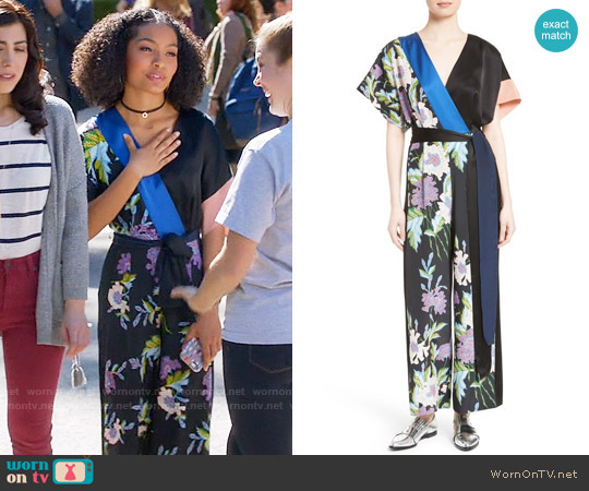 Diane von Furstenberg Faux Wrap Silk Jumpsuit worn by Zoey Johnson (Yara Shahidi) on Blackish