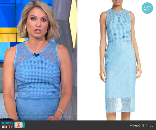 Mixed Lace Sheath Dress by Diane von Furstenberg worn by Amy Robach on Good Morning America