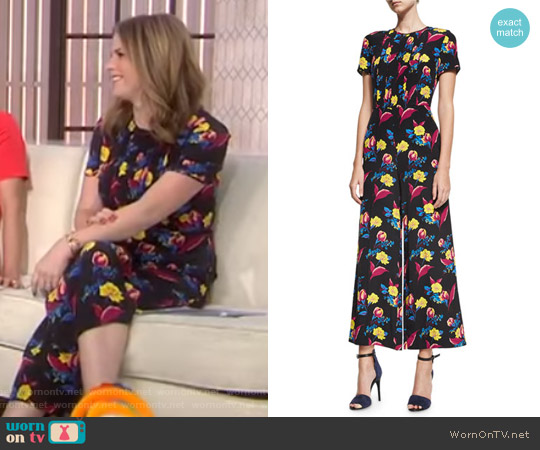 Short-Sleeve Cropped Flared Silk Jumpsuit by Diane von Furstenberg worn by Jenna Bush Hager  on Today