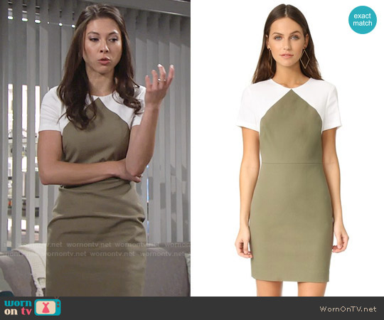 Diane von Furstenberg Short Sleeve Tailored Sheath Dress by worn by Laur Allen on The Young & the Restless