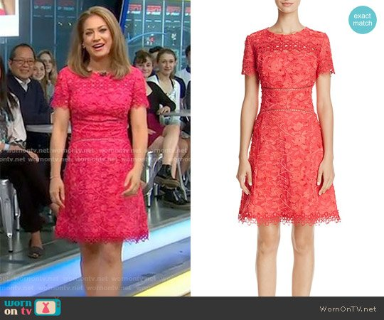Adina Short-Sleeve Floral Applique & Lace Dress by Elie Tahari worn by Ginger Zee on Good Morning America