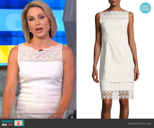 Kallista Sleeveless Lace-Trim Sheath Dress by Elie Tahari worn by Amy Robach  on Good Morning America
