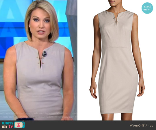 Natanya Sleeveless Sheath Dress by Elie Tahari worn by Amy Robach on Good Morning America