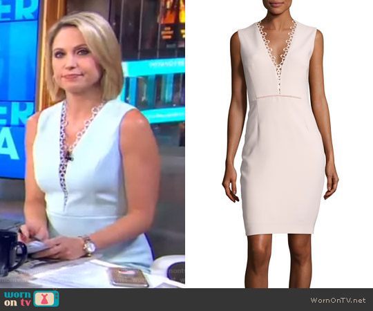 Saylah Sleeveless Lace-Trim Sheath Dress by Elie Tahari worn by Amy Robach on Good Morning America