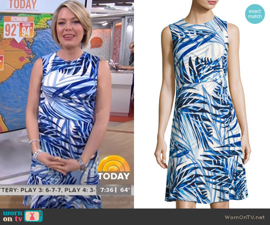 Side-Ruched Palm-Print Dress by Eliza J worn by Dylan Dreyer on Today