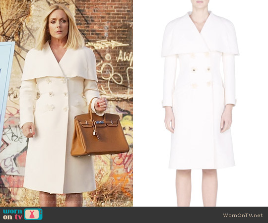Fendi Floral Double-Breasted Capelet Coat worn by Jane Krakowski on Unbreakable Kimmy Schmidt