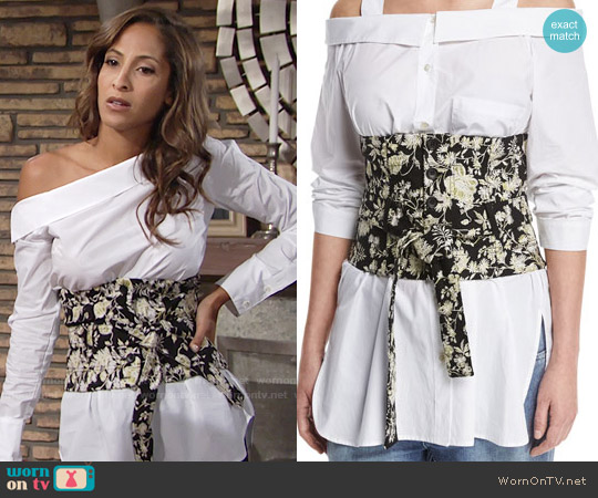 Robert Rodriguez Floral Embroidered Tie-Waist Corset worn by Lily Winters on The Young & the Restless