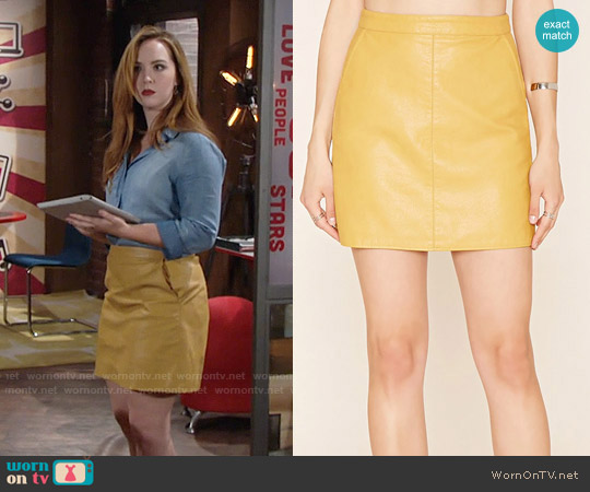 Forever 21 Contemporary Faux Leather Skirt in Mustard worn by Mariah Copeland on The Young & the Restless