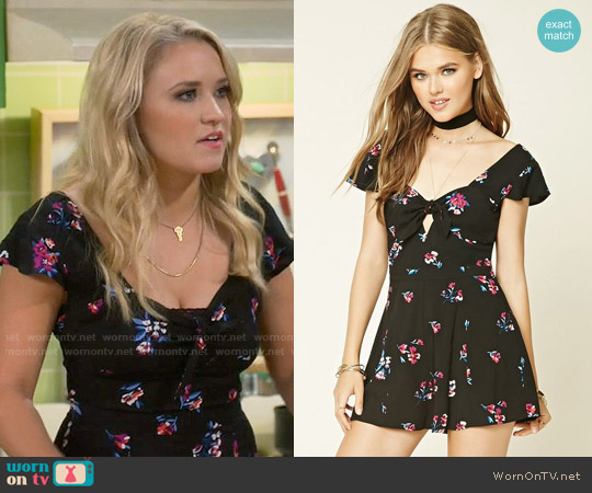 Forever 21 Sweetheart Floral Romper worn by Emily Osment on Young & Hungry