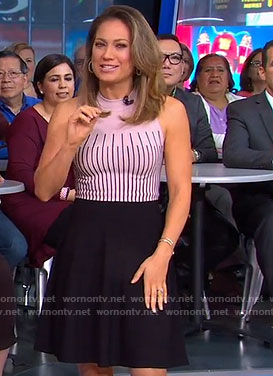 Ginger's pink and black striped dress on Good Morning America
