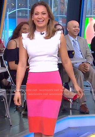 Ginger's white ruffle sleeve top and colorblock skirt on Good Morning America