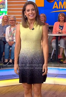 Ginger's yellow and black sleeveless dress on Good Morning America