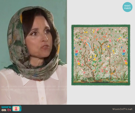 Gucci Tian modal silk shawl worn by Selina Meyer (Julia Louis-Dreyfus) on Veep